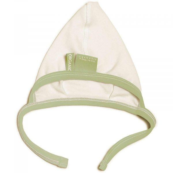 green baby hat with no seams made of organic cotton