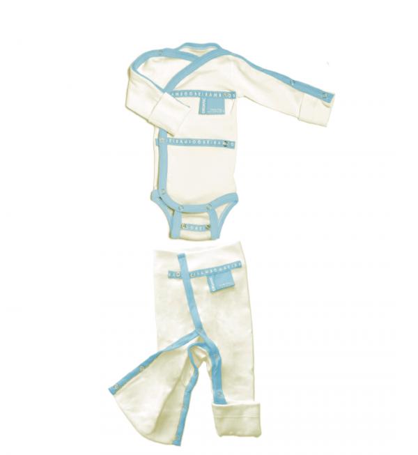 finland finnish design organic cotton sustainable design blue trousers babygrow set