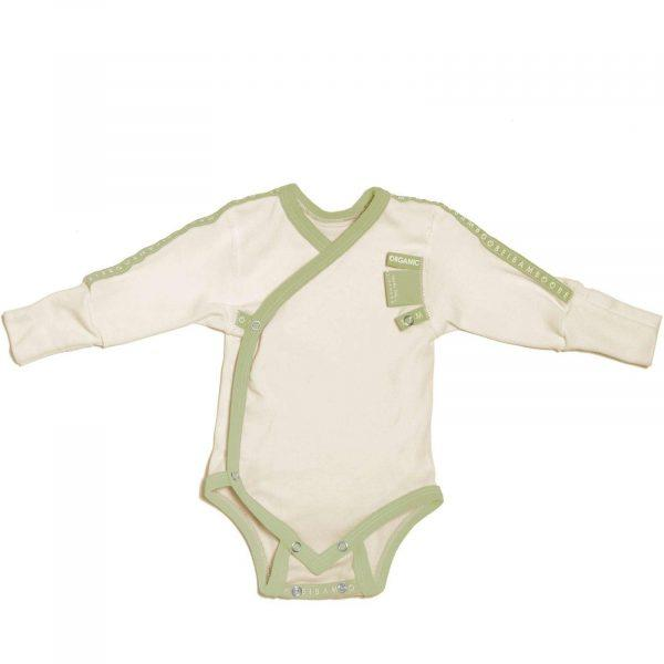 comfortable organic green Baby Grow wraparound for baby´s atopic skin